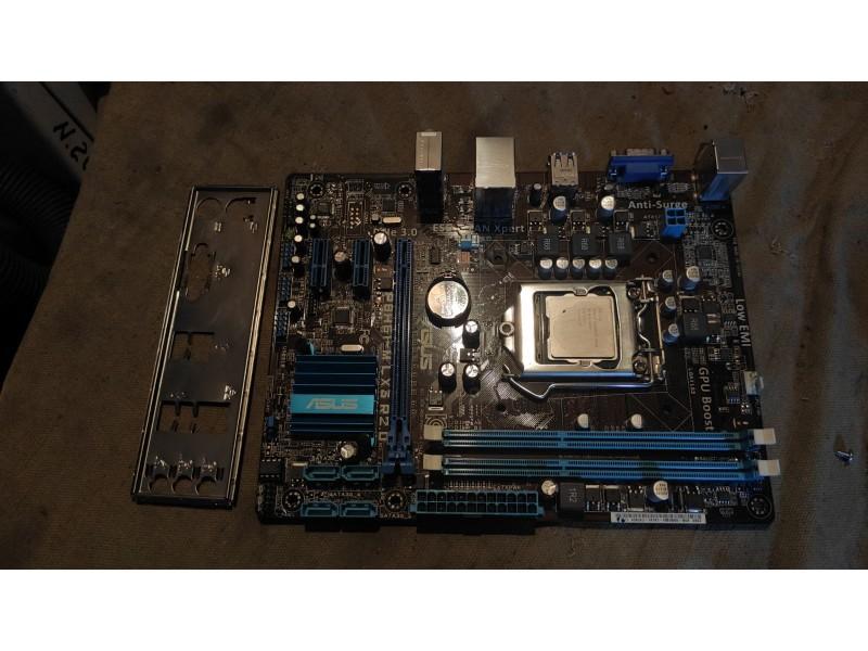 Материнка Asus P8H61-M LX3 R2.0 с процессором G1620 и задней панелькой